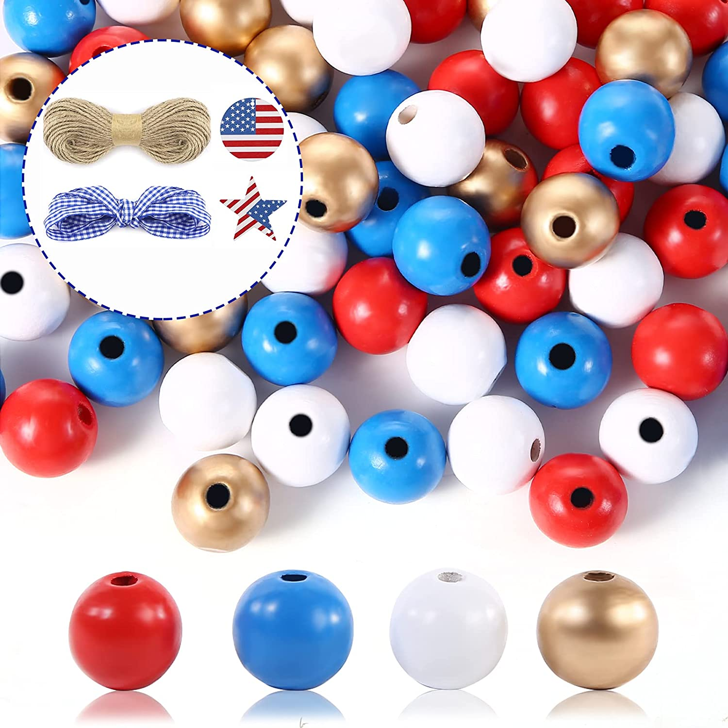 160 Pieces Independence Day Beaded Combination Set 4th of July Natural Wood Beads with Rope Red White Blue Flag and Rustic Tasselsfor DIY Crafts Jewelry Decors