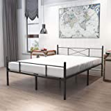 HAAGEEP Queen Bed Frame with Headboard and Footboard Black Metal Platform Bedframe with Storage No Box Spring Needed 14 Inch