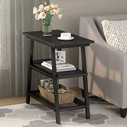 Industrial End Table, Tribesigns 3-Tier Vintage Bed Side Table Night Stand with Metal Mesh Storage Shelf for Living Room Bedrooms Black