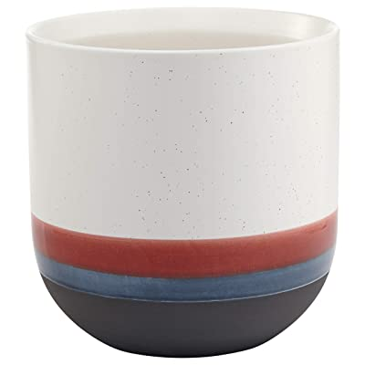 "Rivet Westline Modern Indoor Outdoor Hand Painted Stoneware Planter Flower Pot, 10""H, Red White Blue Black: Home & Kitchen"