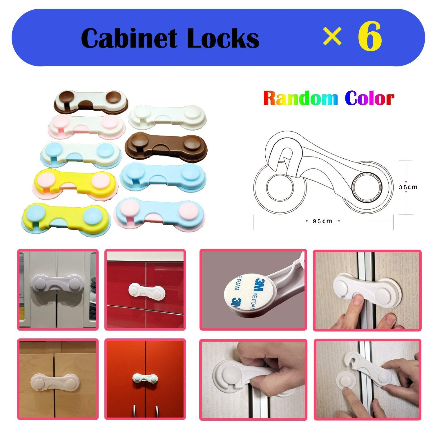 Baby Safety Proofing Kits (56 Pack) 20Pcs Outlet Covers +6Pcs Child Safety Proofing Cabinet Locks+ 20Pcs Corner Protector Edge Guard+ 6Pcs Children Cupboard Locks + 4Pcs Kids Safety Foam Door Stoppers by HOMER (Image #8)