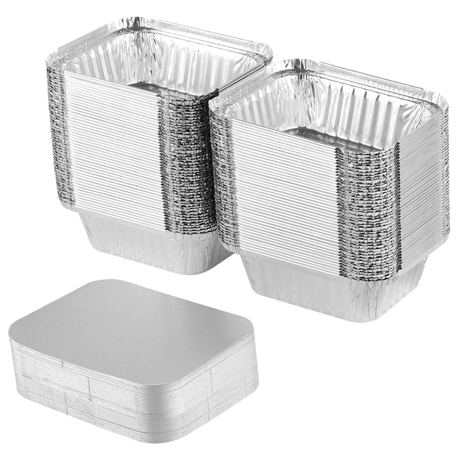 XIAFEI Disposable Durable Aluminum Oblong Foil Pan, TakeOut Containers, Pack of 100 With Board Lids