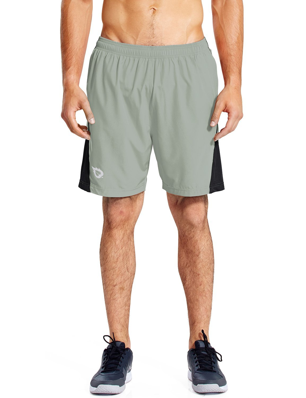 Baleaf Men's 7'' Quick Dry Workout Running Shorts Mesh Liner Zip Pockets Light-grey Size M