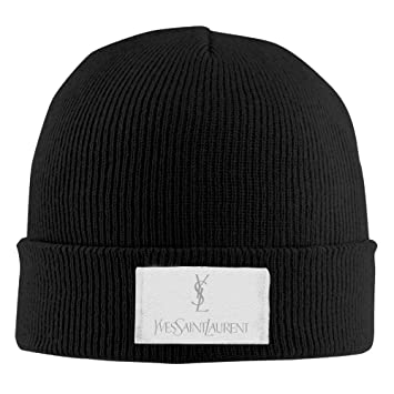 7436db59790 Hittings Unisex YSL Saint Laurent Warm Winter Hat Knit Beanie Skull Cap  Cuff Beanie Hat Black  Amazon.co.uk  Sports   Outdoors