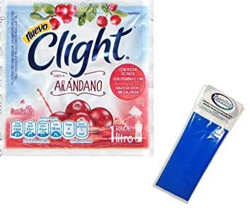 Clight Arandano (Cranberry) Powdered Drink Mix 1 Liter (Pack of 18) with Tesadorz Resealable Bags
