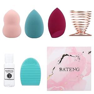 3 Pcs Beauty Blender Makeup Sponge Gift Set,Lates Free Soft Beauty Foundation Blending Sponge with Beauty Blender Holder,Cleaner and Brush for Powder, Cream or Liquid