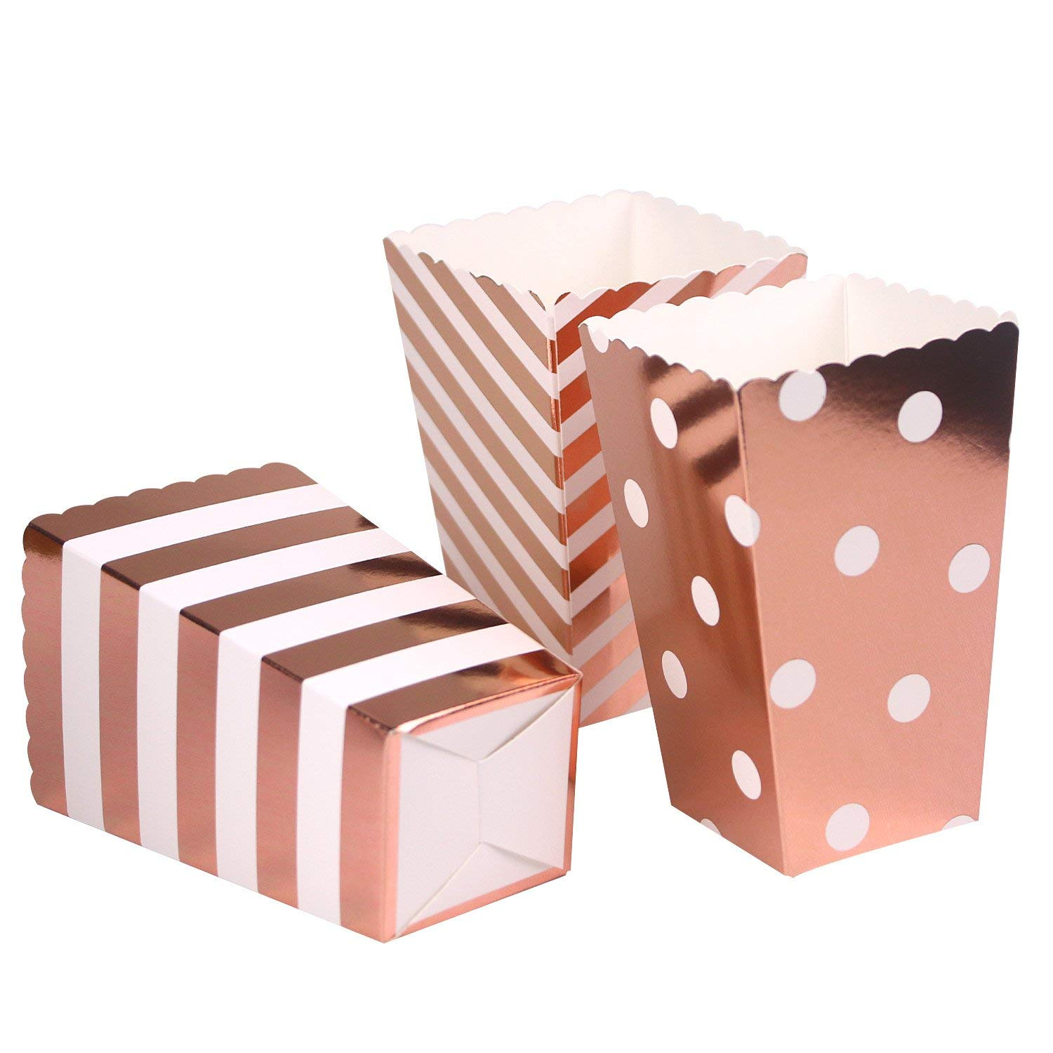 Rose Gold Popcorn Boxes Paper Popcorn Containers for Movie Dessert Tables Birthday Wedding Party Supplies Pack of 100