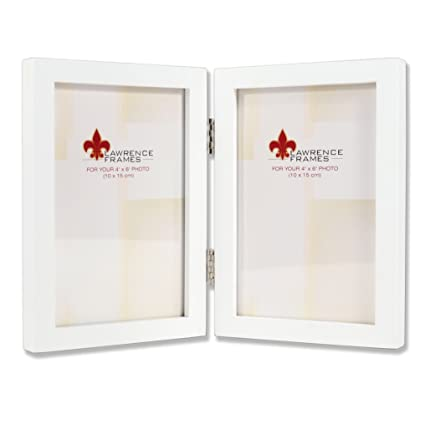Lawrence Frames Hinged Double White Wood Picture Frame, Gallery Collection,  4 by 6-Inch