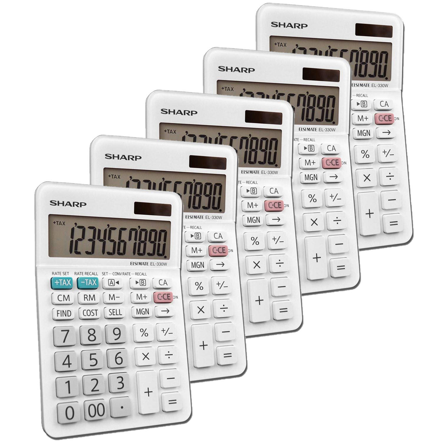 Sharp EL-330WB Standard Function Basic Desktop Calculator, Large Display, for Home and Office, Dual Power, Solar and Battery 5 Pack by Sharp