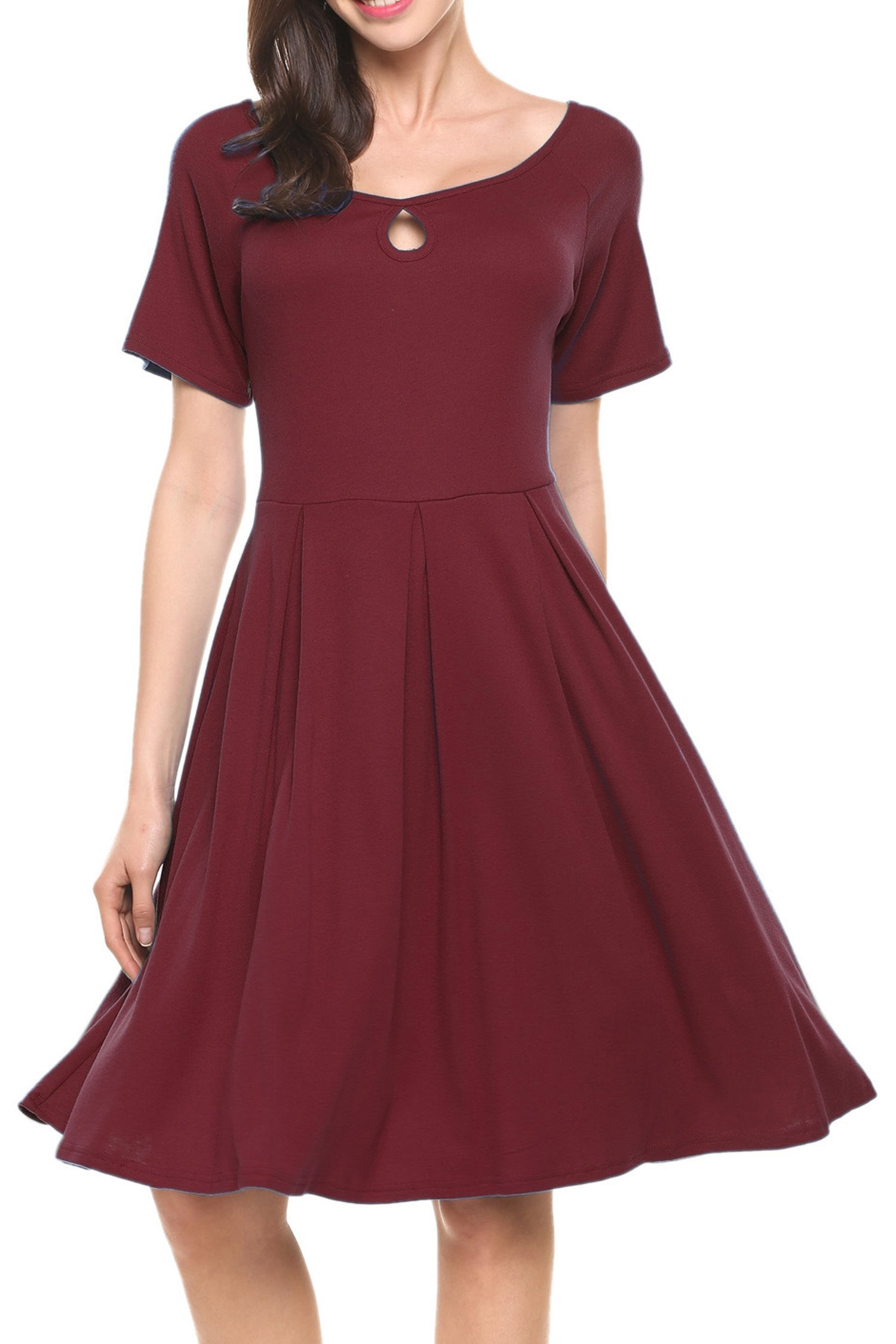 Hotouch Women's Hepburn Style Boat-Neck A Line Swing Dress Wine Red XL by Hotouch