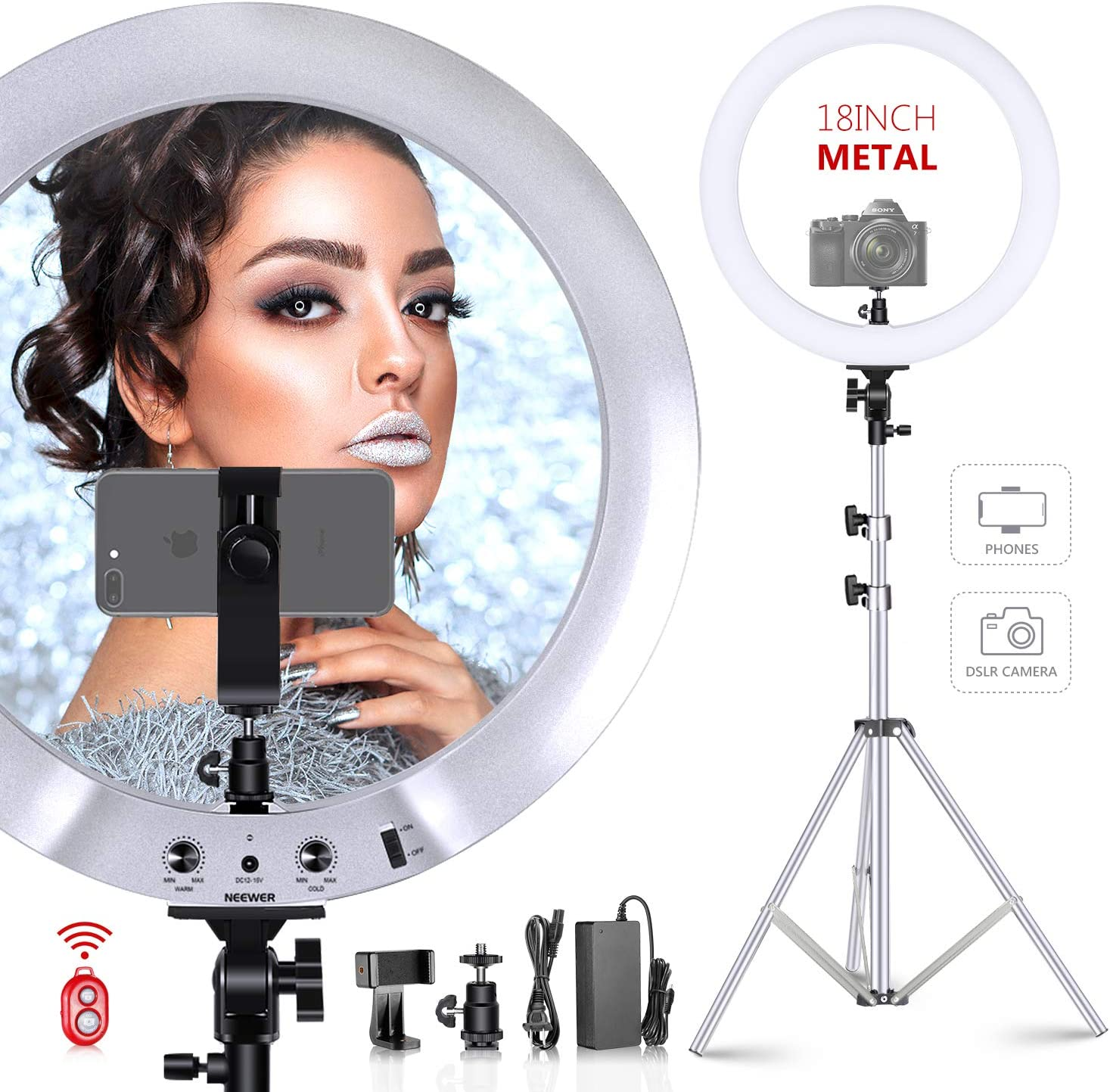 Neewer Upgraded 18-inch Ring Light Silver Metal Lighting Kit: 42W 3200-5600K Ring Light with Silver Aluminium Alloy Shell and Silver Stainless Steel Light Stand for Salon Selfie Make-up Video Shooting