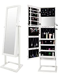 Bonnlo Jewelry Armoire Cosmetic Organizer, Mirrored Jewelry Closet Cabinet,  Over The Door Mirror Wall