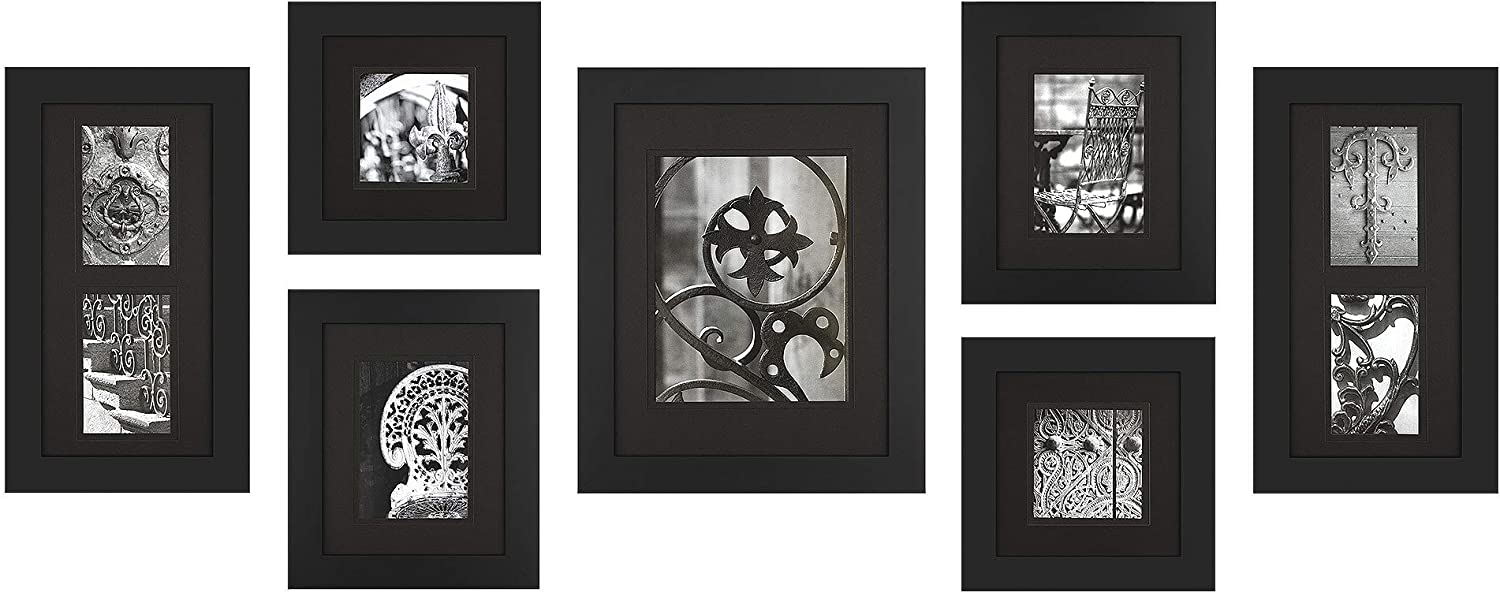 Gallery Perfect 7 Piece Black Wood Photo Wall Decorative Art Prints Hanging Template Picture Frame Gallery Set Multi White White Home Kitchen