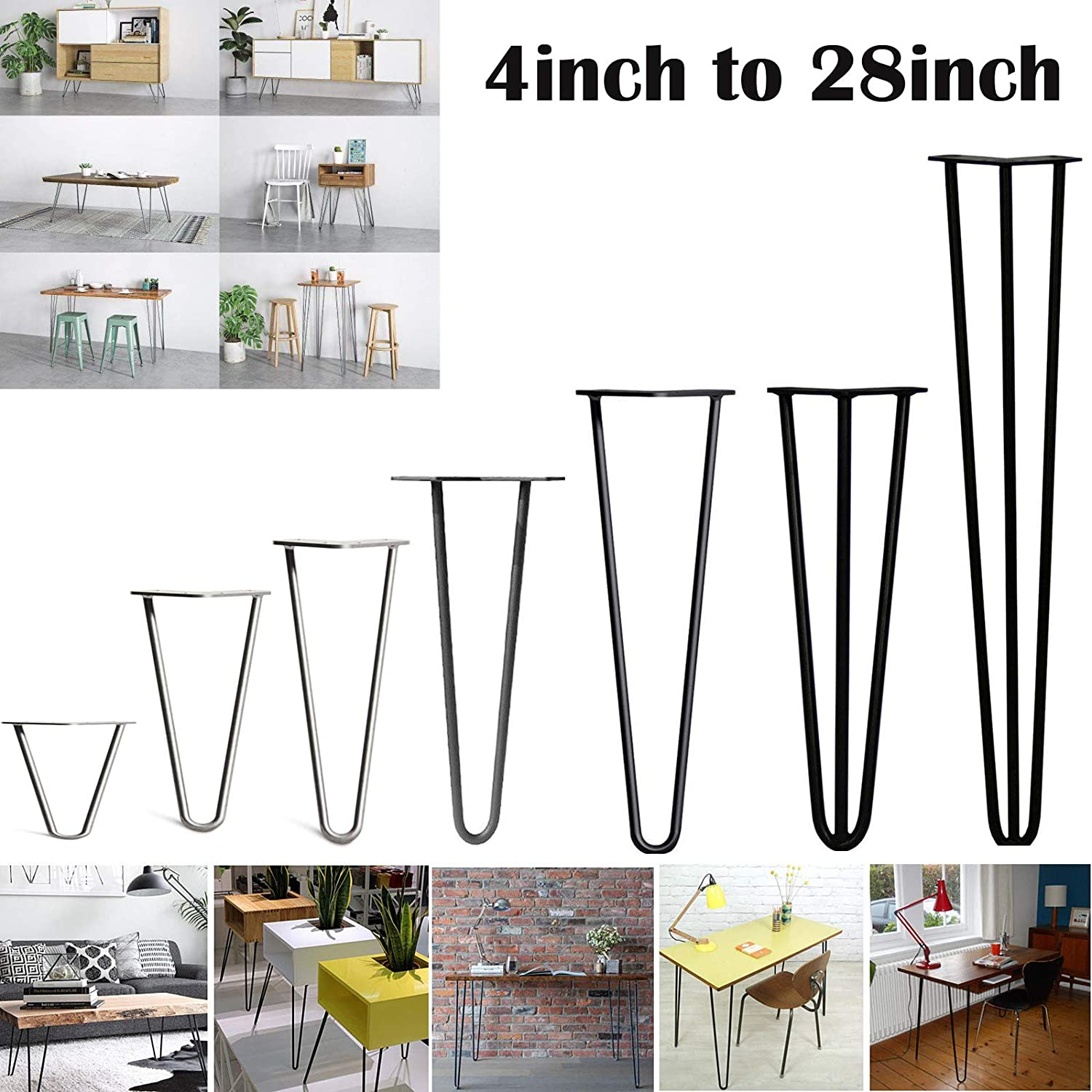 4 x Hairpin Table Legs – Stable Standard Table Height Superior Double Weld Steel – 10cm to 72cm/ 4inch to 40inch AutoBaBa