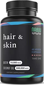 Biotin 10000mcg | Organic Coconut Oil | Hair Skin and Nails Vitamins for Women and Men | Hair Growth Thickening Strength | Veggie Capsules | 2 Month Supply