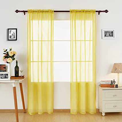 Deconovo Yellow Sheer Curtains 95 Transparent Rod Pocket Window Curtain And Panels For Bedroom 38W