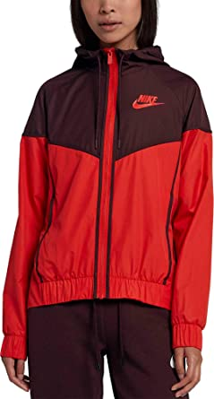c06c25e2a NIKE Women's Sportswear Windrunner Jacket (Habanero Red/Black, X-Small)