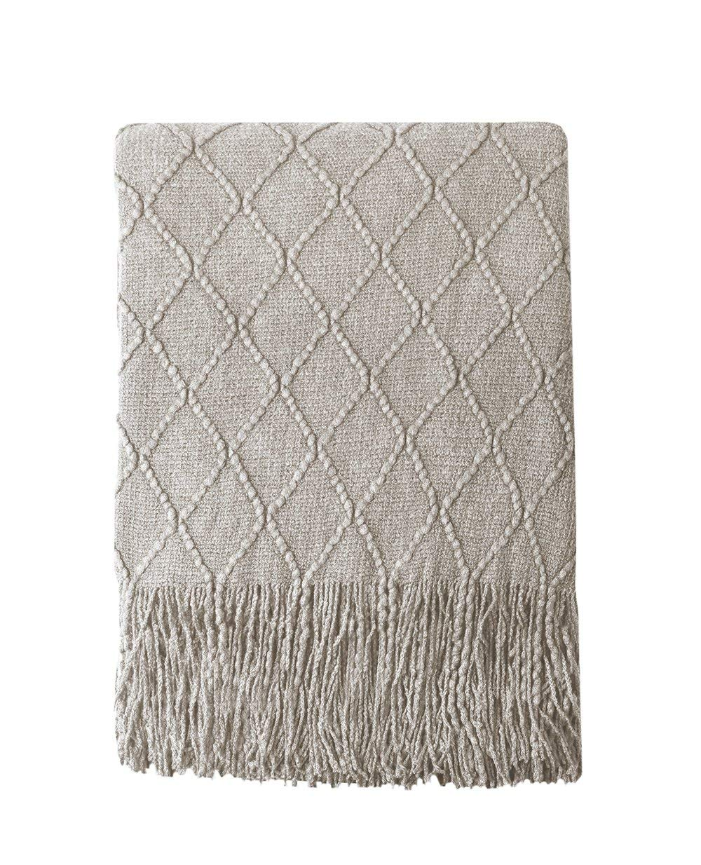 "BOURINA Textured Solid Soft Sofa Throw Couch Cover Knitted Decorative Blanket, 60"" x 80"",Beige"