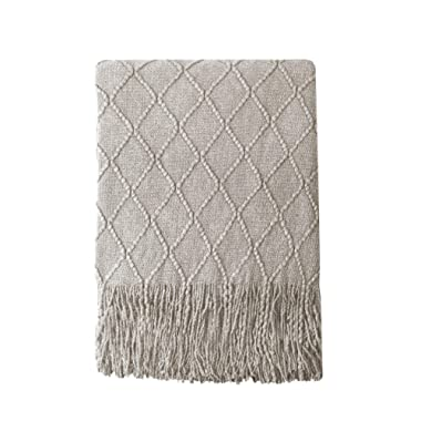Bourina Textured Solid Soft Sofa Throw Couch Cover Knitted Decorative Blanket, 60  x 80 ,Beige
