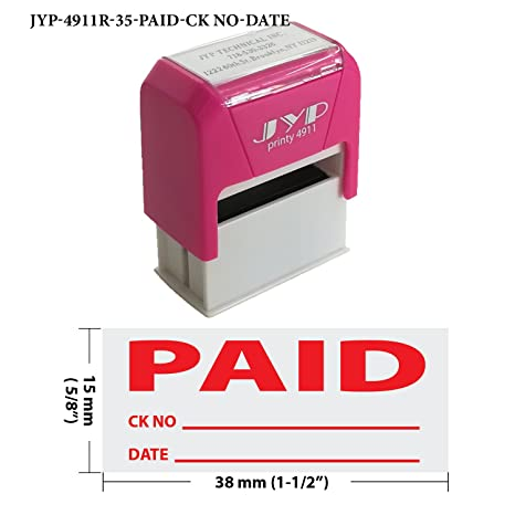 Paid With Check And Date Self Inking Stamp Red