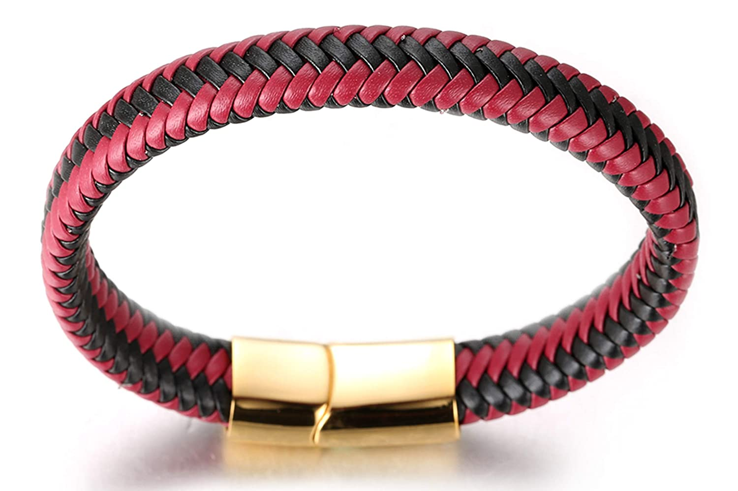 21.5cm Halukakah ● Jazz ● Mens Genuine Leather Jaguar Golden Brown//Classic Piano//Sport Red Handmade Braid Bracelet Titanium Magnetic Clasp 8.5 with FREE Giftbox Party Passion Red Gold