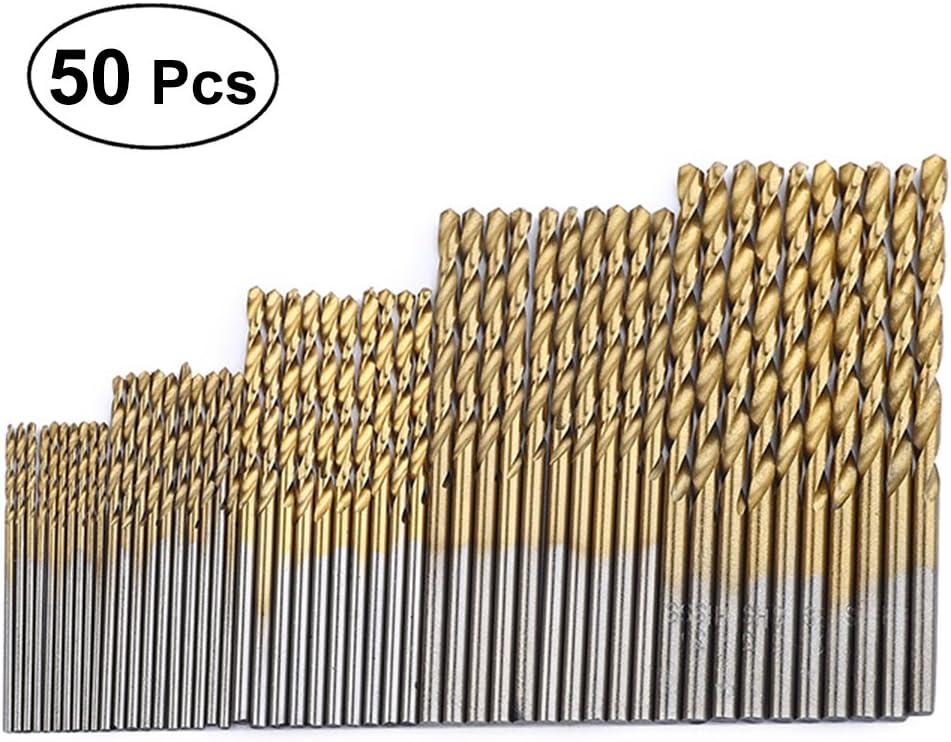 Juego de 50 brocas de precisi/ón HSS con revestimiento de titanio para carpinter/ía OUNONA