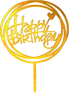 Happy Birthday Cake Topper,Premium Quality Acrylic for Various Birthday Supplies Party Decorations(Gold)