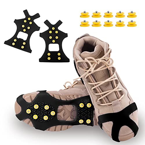 DUALF Traction Cleats, Snow Grips Ice Creepers Over Shoe Boot,Anti Slip 10-Studs TPE Rubber Crampons with 10 Free Studs for Footwear (Blue/Black) (Black, Large)