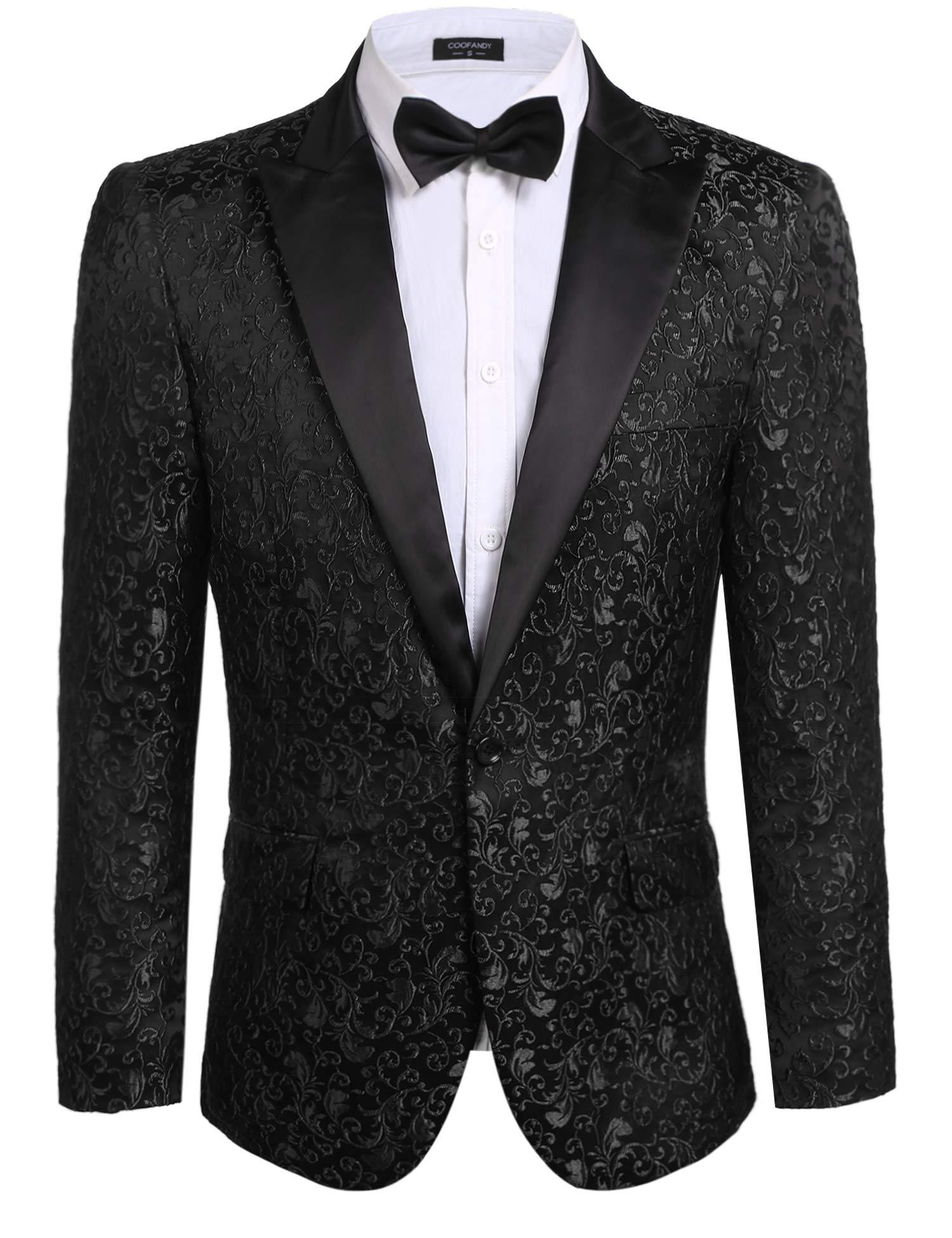 JINIDU Men's Floral Party Dress Suit Stylish Dinner Jacket Wedding Blazer Prom Tuxedo Black by JINIDU