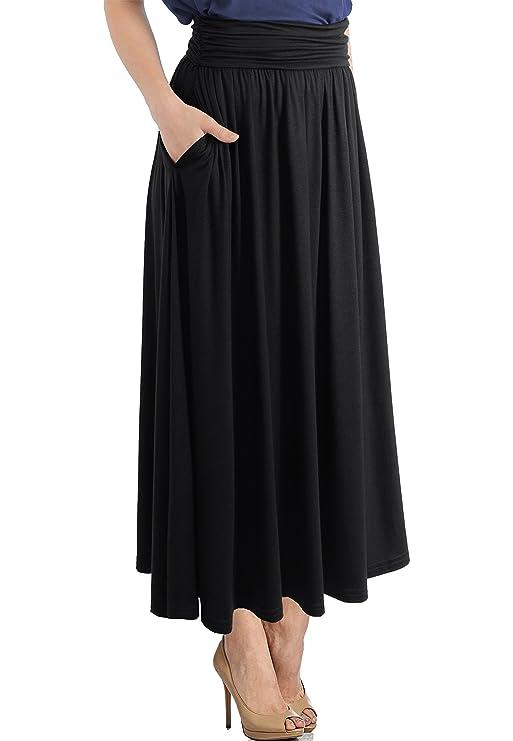 46864176853feb TRENDY UNITED Women's High Waist Fold Over Pocket Shirring Skirt at Amazon  Women's Clothing store: