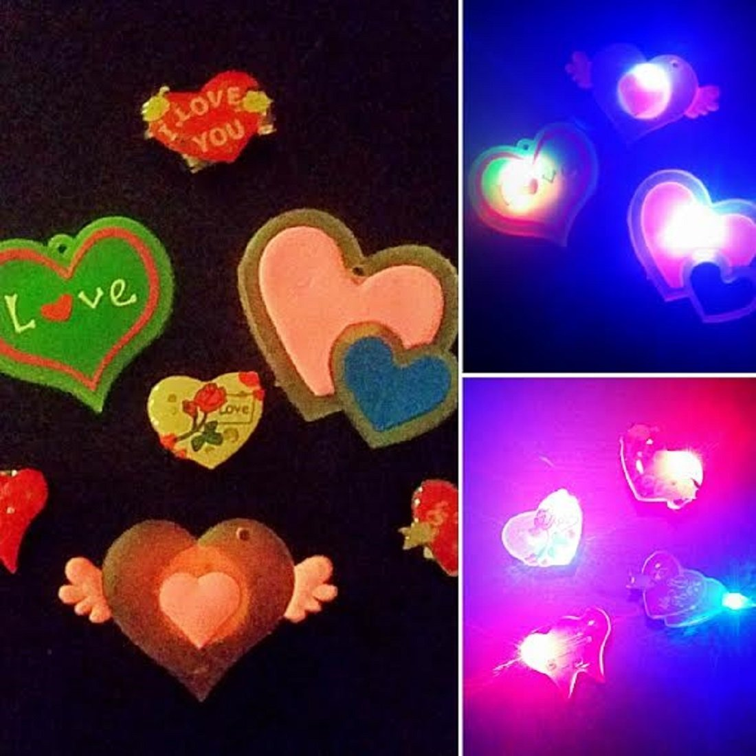 Mammoth Sales 5 PC LED Light Up Flashing Valentine's Day Hearts I Love You Pins Brooches