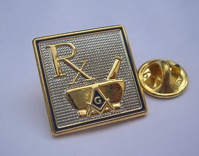 Lovely Masonic Pharmacist Pharmacy Dispensing Chemist RX Mortar Pestle Lapel Pin