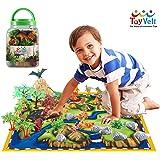 50 件恐龙游戏套装:20 件逼真恐龙 + 29 件树和岩子 + PlayMat — 行走恐龙与移动爪的恐龙开发孩子想象力 — 恐龙礼品套装