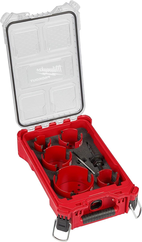 Milwaukee 49-56-9295 Big HAWG Sierra perforadora de carburo (2-1/8, 2-9/16, 3, 3-5/8, 4-5/8 pulgadas) Kit (9-piezas) con caja Packout: Amazon.es: Bricolaje y herramientas