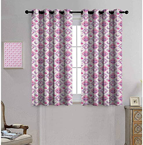hengshu Baby Room Darkened Insulation Grommet Curtain Rectangle Diamond Pattern with Funny Owls Sleeping Moons Stars and Clouds Abstract Living Room W52 x L84 Inch Purple Pink