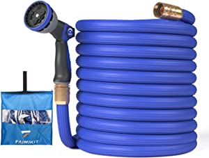 Faimikit Expandable Garden Hose with 10 Function Nozzle, Leak proof Lightweight Retractable Water Hose with Solid Brass Fittings (100FT)