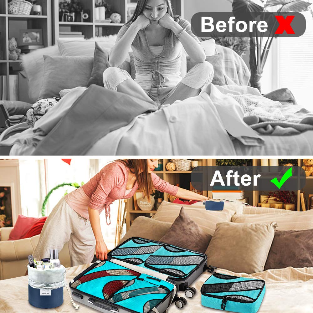 aKing Packing Cubes,7 PCS Travel Cubes Waterproof Luggage Organizer with Cosmetic Bag Travel Accessory for Suitcases