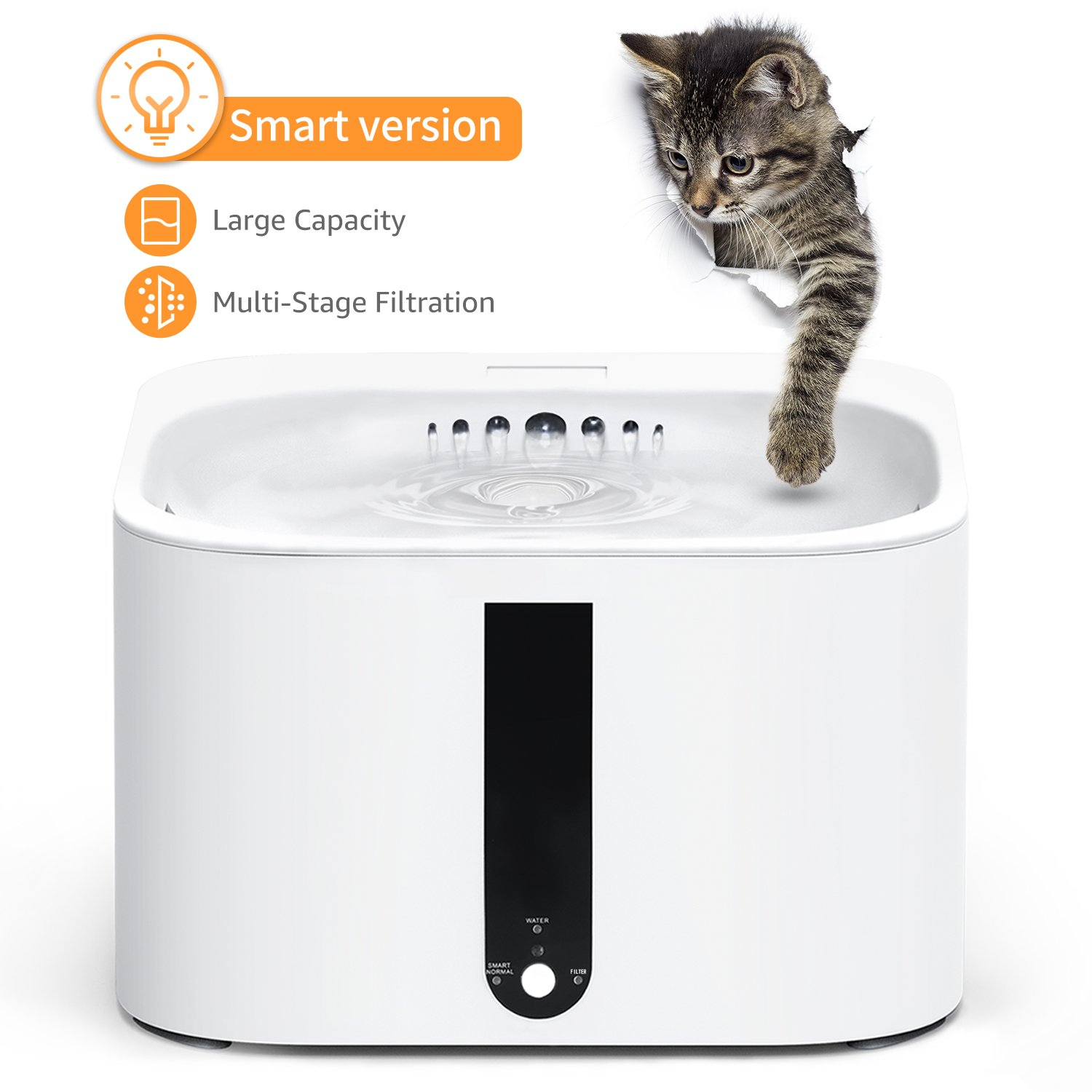 SUKI&SAMI Pet Fountain Cat Water Dispenser Healthy and Hygienic Drinking Fountain 2L Automatic Electric Water Bowl for Dogs, Cats, Birds and Small Animals White by SUKI&SAMI