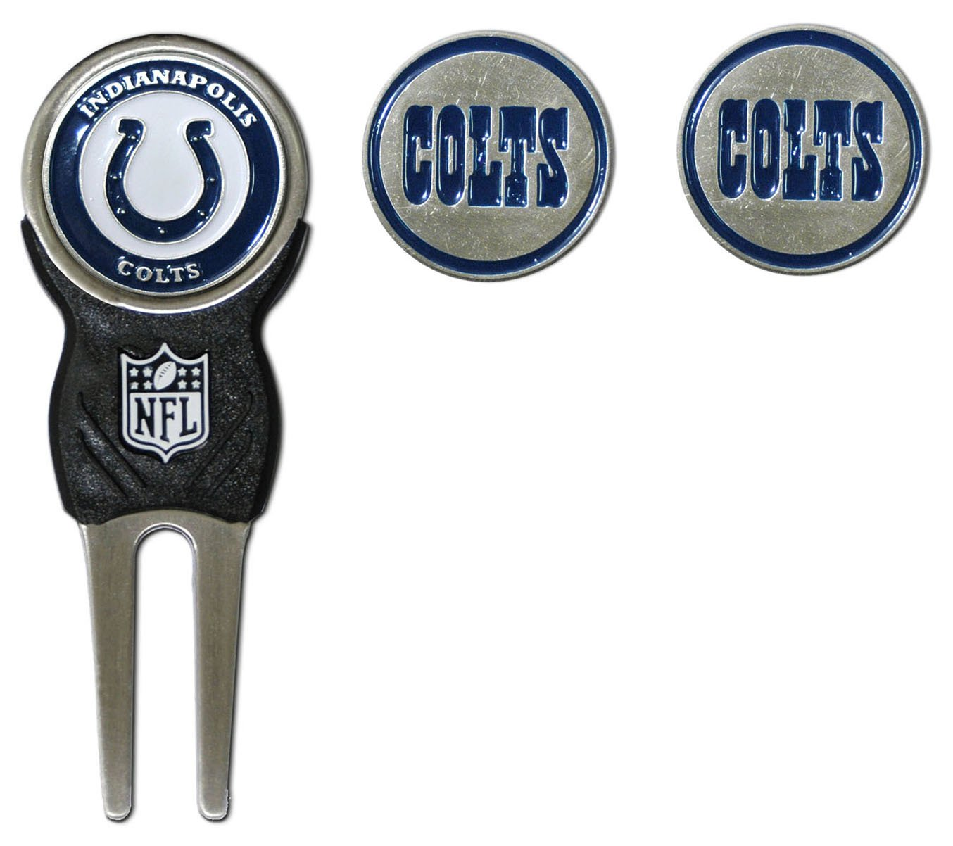 Team Golf NFL Indianapolis Colts Divot Tool with 3 Golf Ball Markers Pack, Markers are Removable Magnetic Double-Sided Enamel