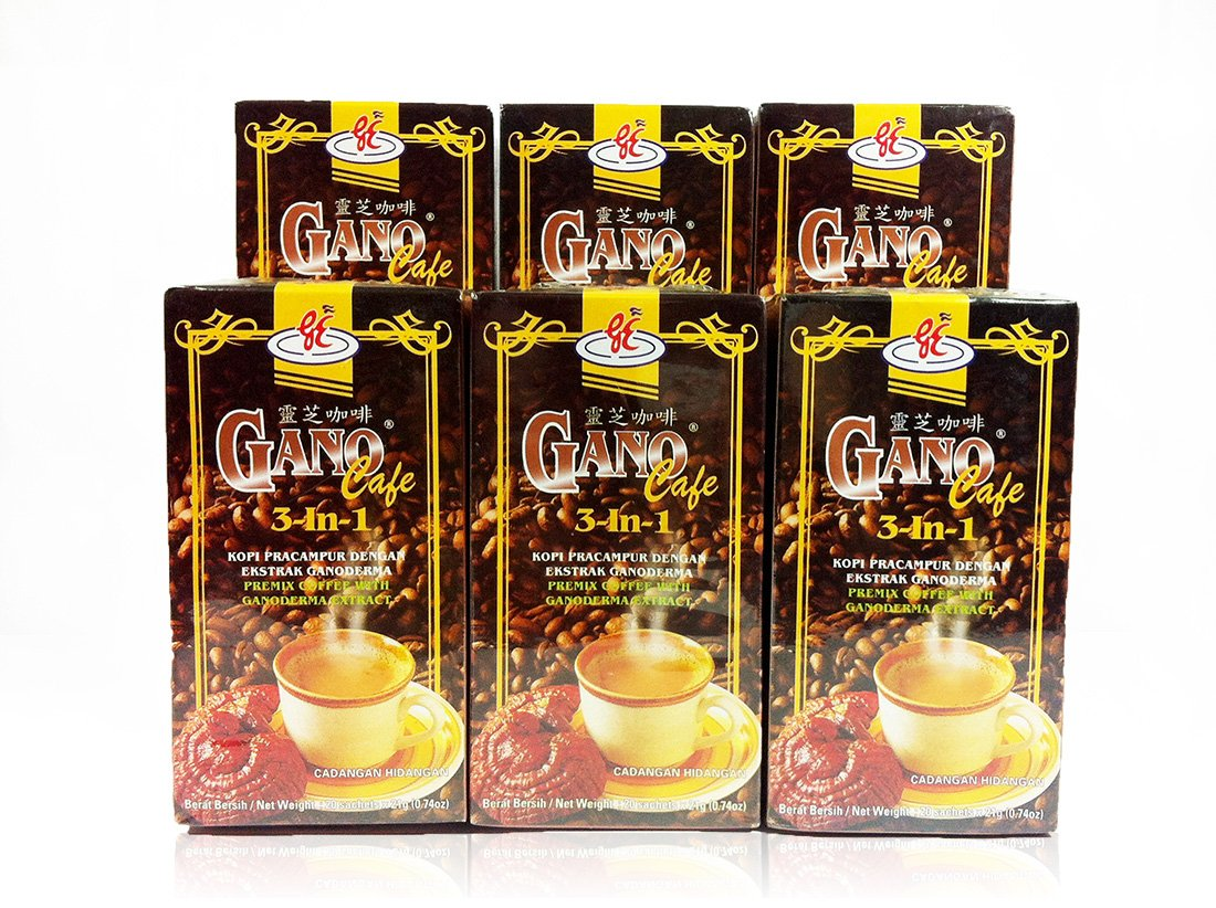 6 box GanoCafe 3 in 1 (20 Sachets Per Box) by Gano Excel