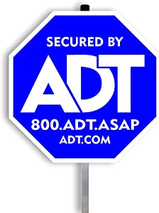 "ADT Security Signs with (1) Stake Post 100% Aluminum. 28"" Long Aluminum Stakes for Yard Sign. (Blue)"