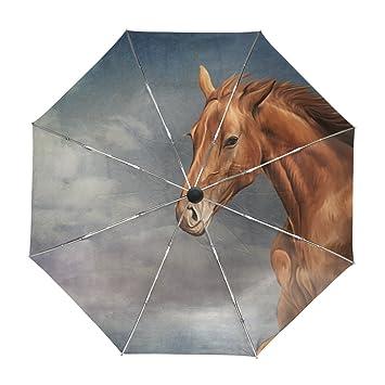 ALAZA Viaje del Vintage del Caballo Paraguas de Apertura automática Cerca de Protección UV a Prueba
