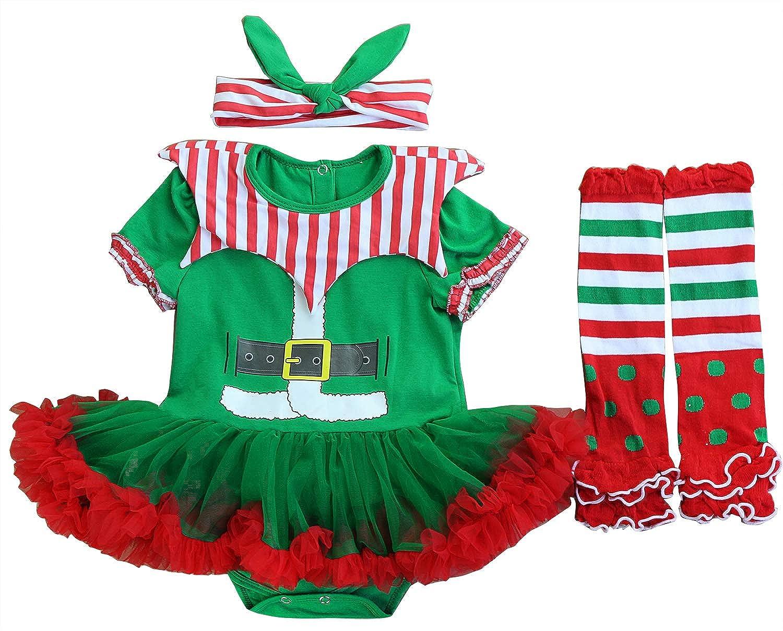 FANCYINN Bambino Ragazze Abiti Natalizi Costume Party Festival Principessa Abito Tutu con Fascia e Calzini