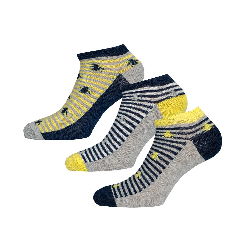 Boys Original Penguin 3 Pack Trainer Socks In Blue Yellow- Stripe Detail