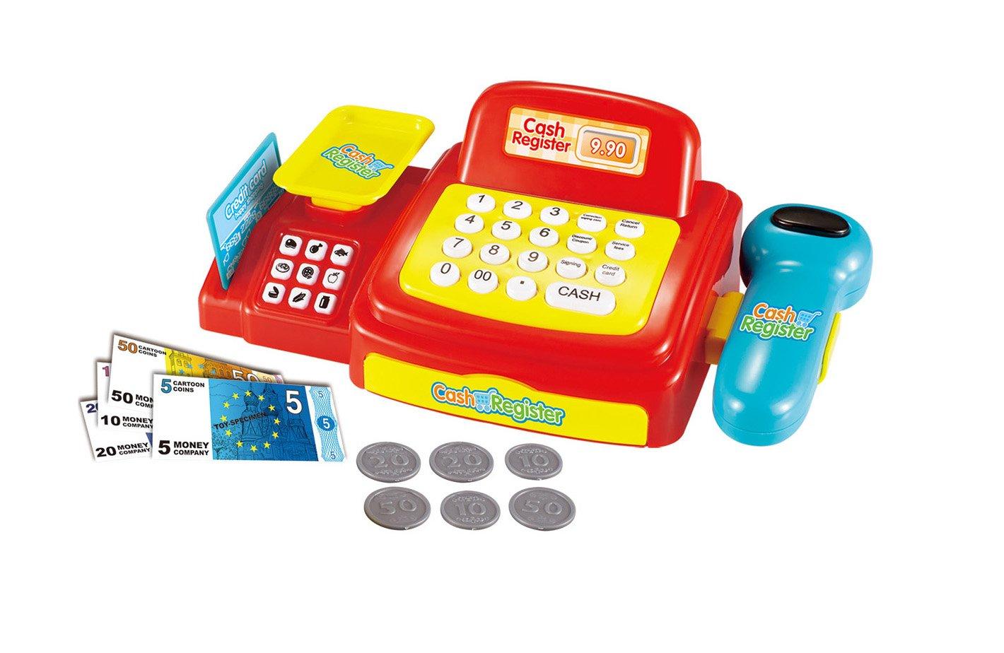 Joueco bn0232633 Juegos - Caja registradora de Juguete con luz y Sonido, Rojo/Amarillo/Azul/Blanco: Amazon.es: Juguetes y juegos
