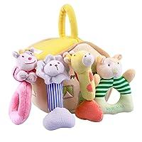 iPlay, iLearn 4 Plush Baby Soft Rattle Set, Hand Grab Sensory Toys, Organic Teether...