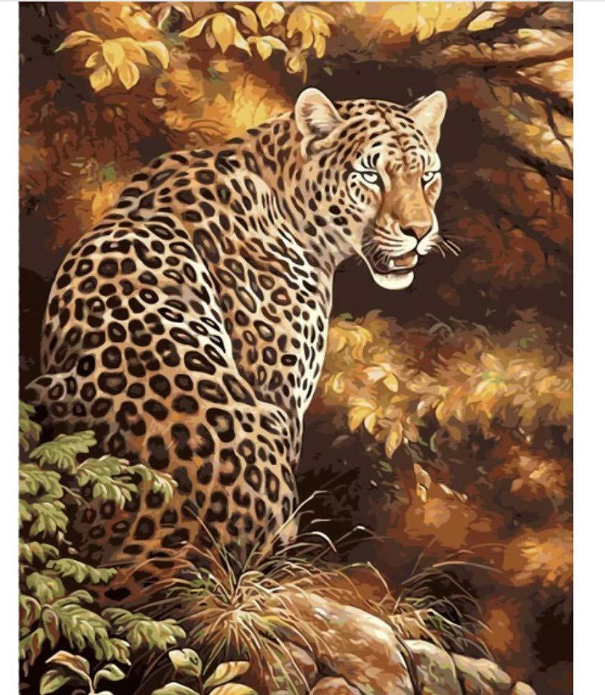 ZHAOHH Guepardo Animales Bricolaje Pintura por Números Kits Pintura sobre Lienzo Acrílico para Colorear Painitng por Números para el Hogar Decoración de Pared 40X50cm