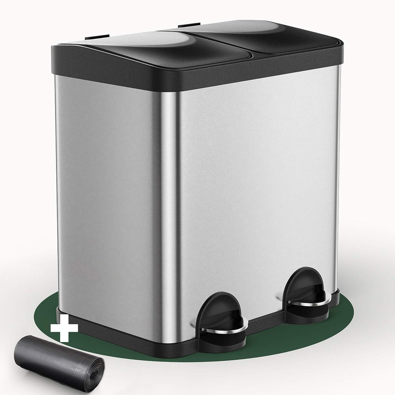 mit herausnehmbaren Eimern 30l hochwertig /& schlicht leicht zu reinigen Edelstahl M/ülleimer zur einfachen M/ülltrennung Tretm/ülleimer mit 2 F/ächer Trennsystem