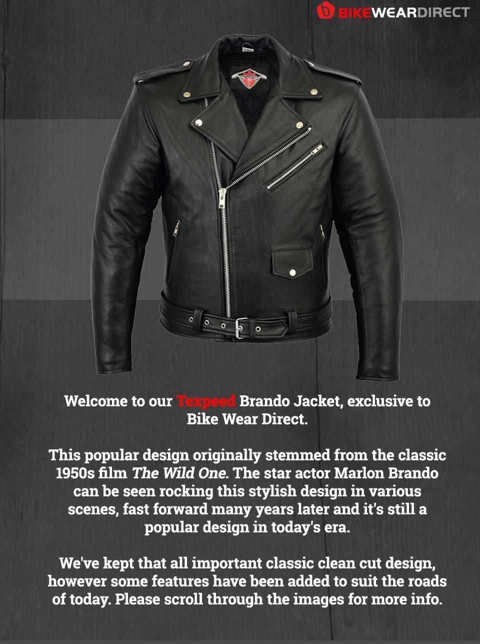 nero 7XL - circonferenza del petto 142cm Giacca da uomo motociclo in stile Marlon Brando pelle bovina