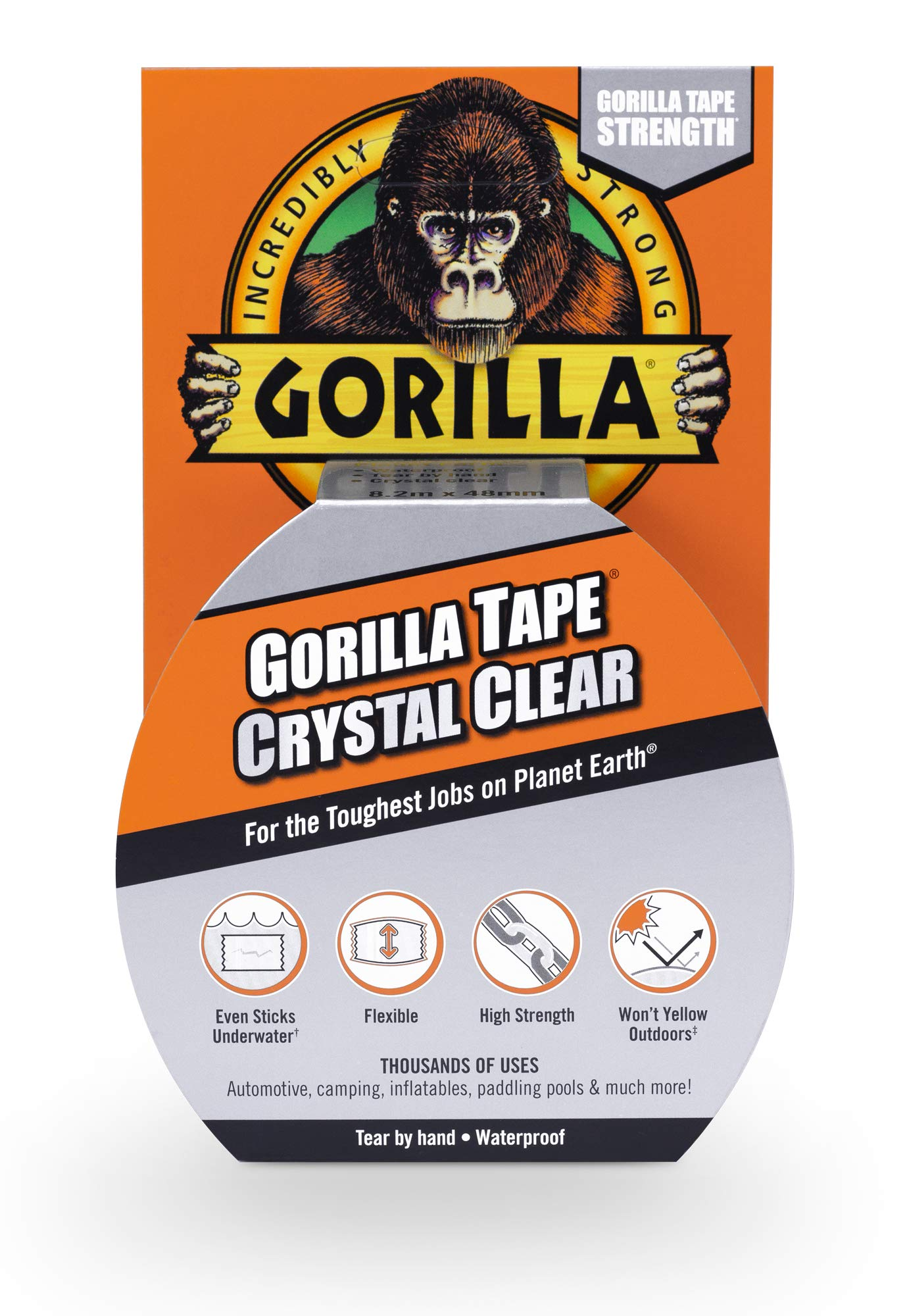 "Gorilla Crystal Clear Duct Tape, 1.88"" x 9 yd, Clear 1 Crystal Clear Gorilla Duct Tape is a heavy-duty, all-purpose tape that is weatherproof, air tight, crystal clear, and can be torn by hand Crystal Clear Gorilla Duct Tape is ideal for thousands of uses and sticks to almost everything-the uses are virtually endless It can be used for patching smooth surfaces, it sticks to rough & uneven surfaces and can even be used to seal and protect surfaces"